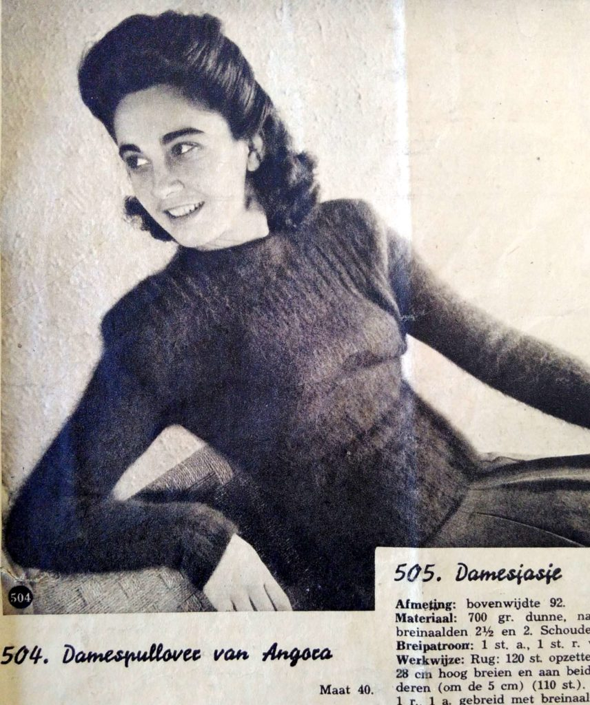 De Breistaat: ABC Zwitschersch Brei-Album, Damespullover van Angora, maat 40, Model Baldegger & Etter, St. Gallen - Vintage knitting