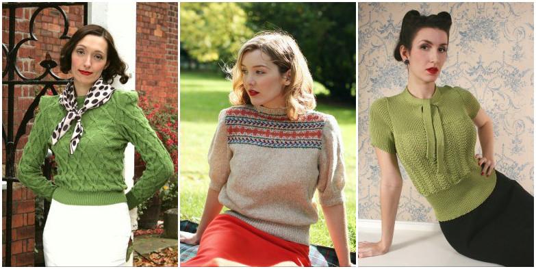 De middelste is een prima voorbeeld van het soort truien die je goed met restjes kon breien, zoals in de jaren '40 onder het motto 'Make Do And Mend' veel werd gedaan.