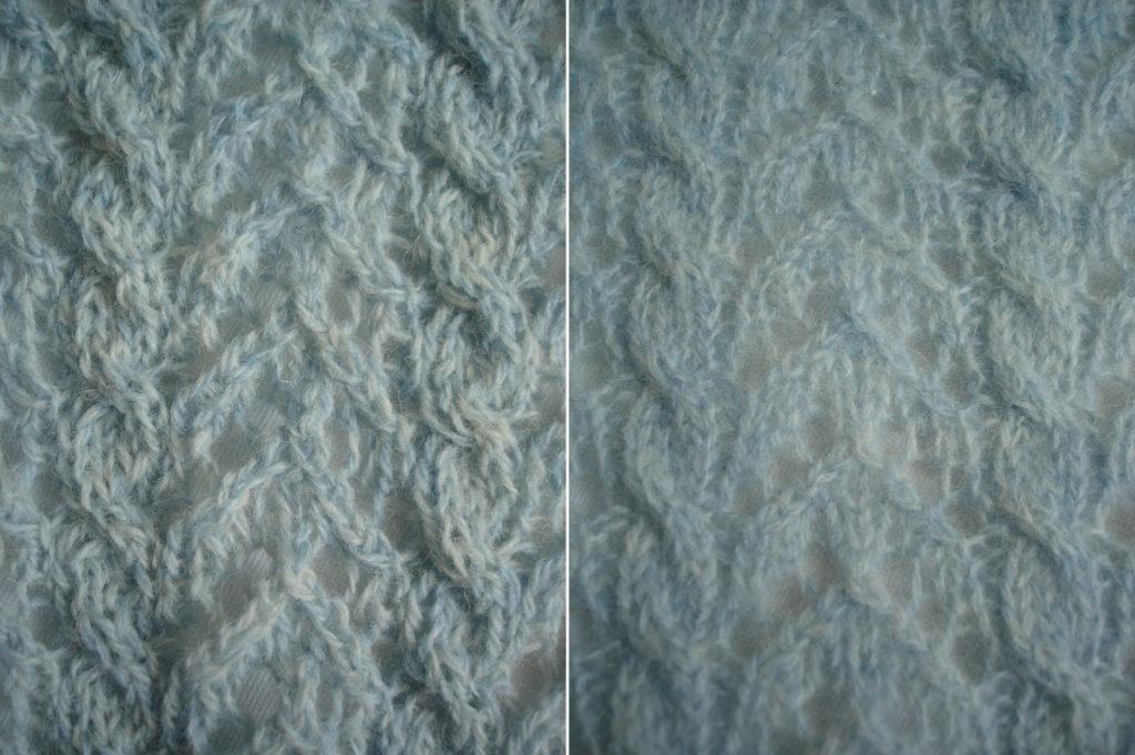 Behold my stitches! Links ongewassen, rechts gewassen in de machine op een kort wasje van 30° en daarna geblockt.