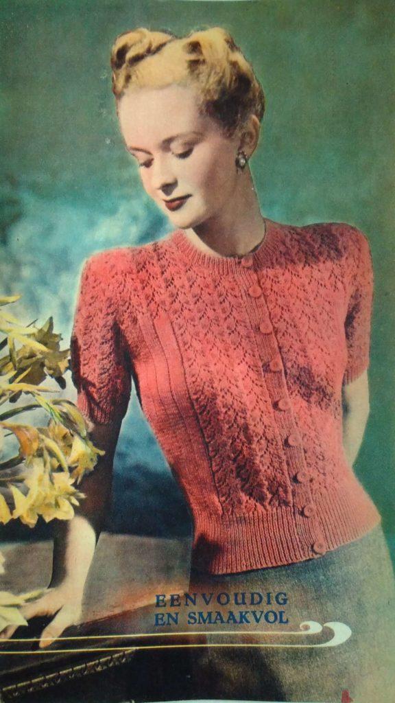 Lente in de kop_10, Margriet Breit, kantpatroon, vest, jaren vijftig