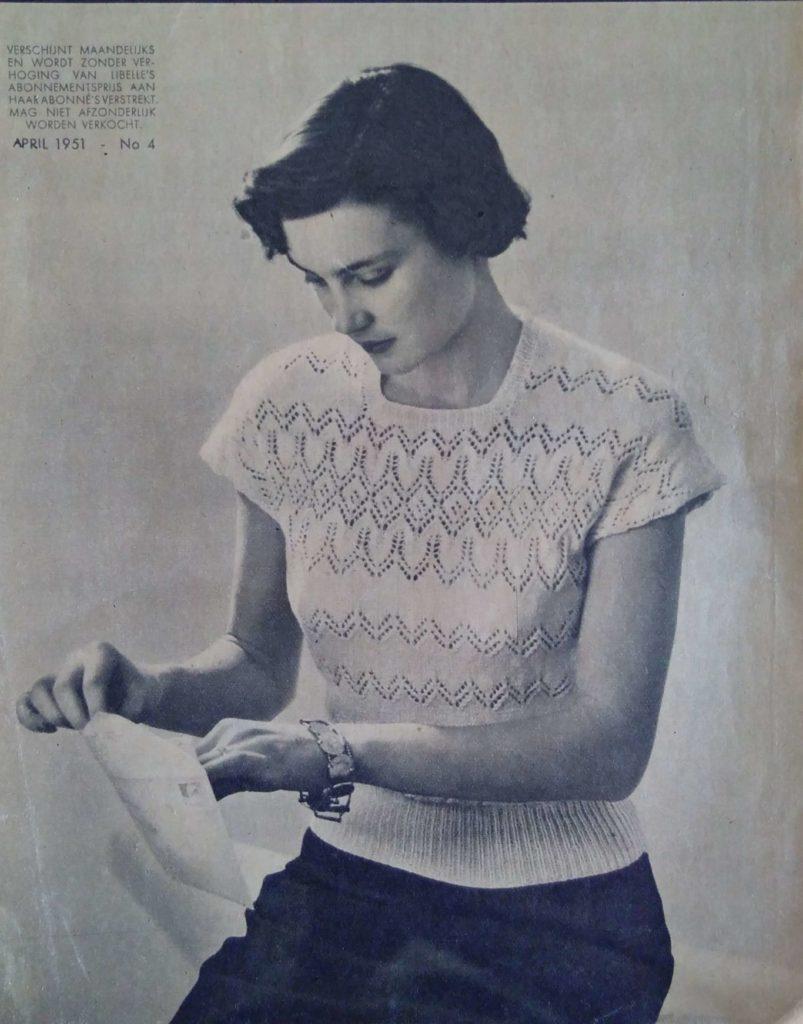 Lente in de kop_12, kimono, jumper, Libelle Haken en Breien, jaren vijftig