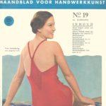 Foto van een patroon voor een gebreid damesbadpak uit Praten en Breien, jaren '30
