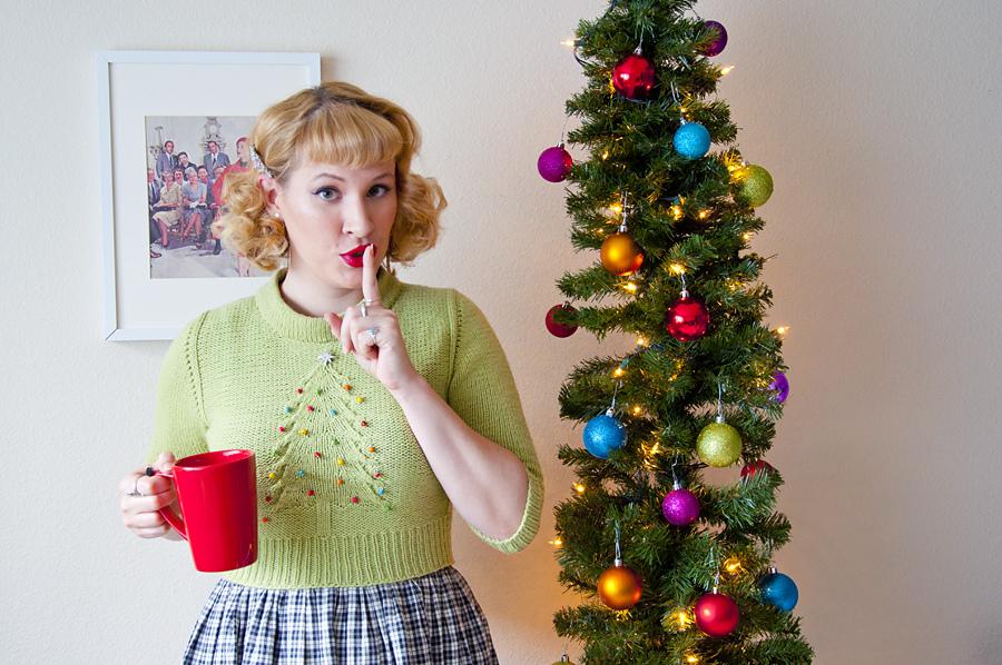 De Breistaat vintage breien Andi Satterlund Untangling Knots Julgran kersttrui christmas sweater