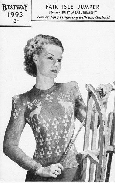 De Breistaat breien Vintage Novelty Sweater Christmas Kerstmis Bestway 1993 Fair Isle Jumper