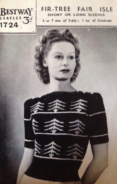 De Breistaat breien Vintage Novelty Sweater Christmas Kerstmis Bestway 1724 Fir-Tree Fair Isle