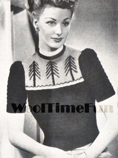 De Breistaat breien Vintage Novelty Sweater Christmas Kerstmis 1940s Lady's Tree Fair Isle Jumper