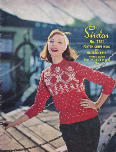 De Breistaat breien Vintage Novelty Sweater Christmas Kerstmis Sirdar 7751