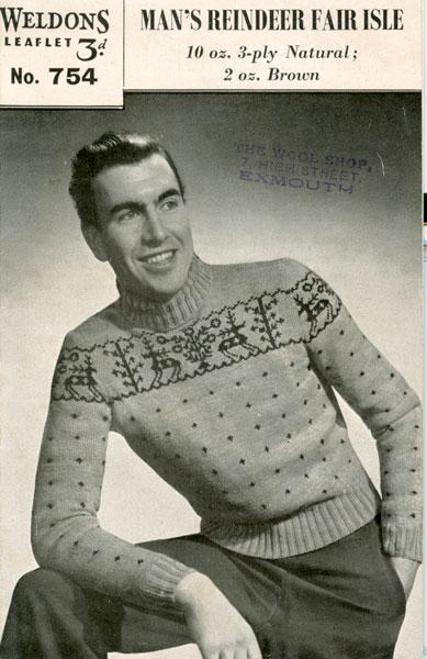 De Breistaat breien Vintage Novelty Sweater Christmas Kerstmis Man's Reindeer Fair Isle Weldons 754